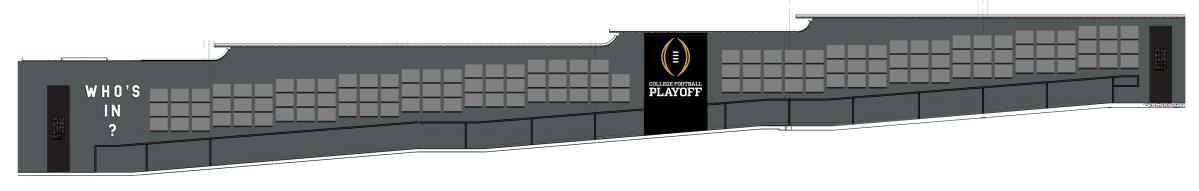 The 140-foot-long College Football Playoff display features interactive multi-touch monitors with graphics representing all 128 CFP eligible schools.