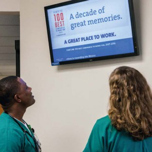 Associates at OhioHealth's hospitals and other work locations keep up to date with eBoards placed throughout each building or campus